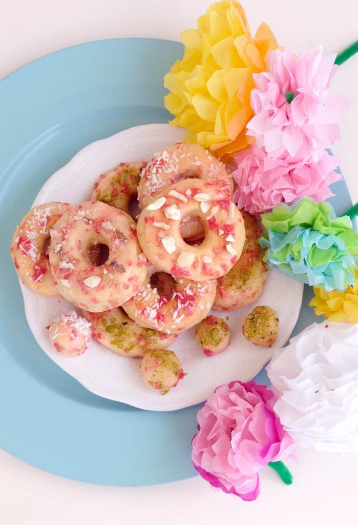 raspberry glazed doughnuts l mademoiselle bagatelles l fashion, food, color blog